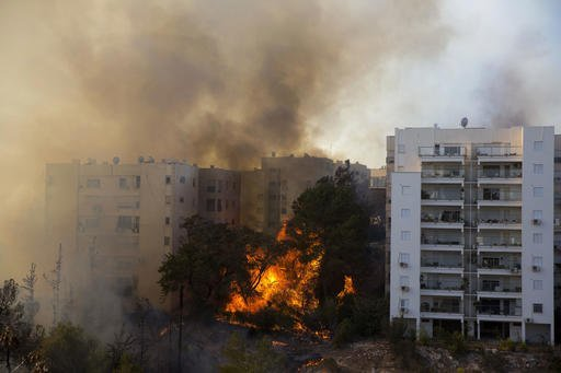 Wildfires burn in Haifa, Israel, Thursday, Nov. 24, 2016. Israeli police have arrested four Palestinians in connection with one of several large fires that damaged homes and prompted the evacuation of thousands of people in the past few days. Police are investigating the causes, including possible arson. Windy and hot weather have helped fan the flames. The blazes started three days ago near Jerusalem and in the north. Hundreds of homes were damaged. Russia, Italy and other countries are assisting the Israeli firefighters.(AP Photo/Ariel Schalit)