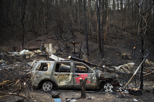 The remains of Allan Rivera's home are shown Monday, Dec. 5, 2016, in Gatlinburg, Tenn. The family evacuated from their rental cabin before it was completely destroyed by a wildfire. A week ago on Monday, hurricane-force winds whipped up fires that killed over a dozen people and damaged or destroyed over a 1,000 buildings in the Great Smoky Mountains tourist region. (Andrew Nelles/The Tennessean via AP)