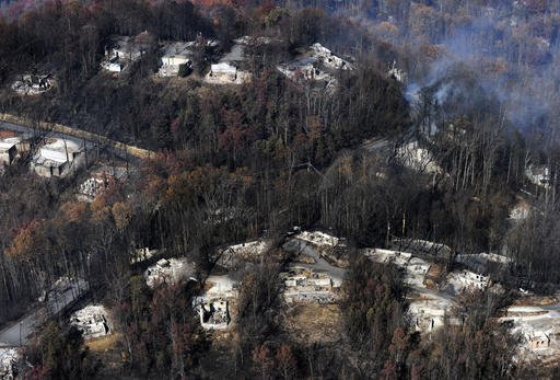 This aerial photo shows destroyed homes, many burned down to the foundation, the day after a wildfire that hit Gatlinburg, Tenn., Tuesday, Nov. 29, 2016. (Paul Efird/Knoxville News Sentinel via AP)