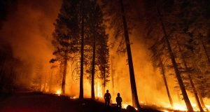 Firefighters at Dixie Fire in California