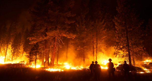 Firefighters at Caldor Fire in South Lake Tahoe